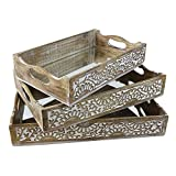 Indian Heritage Wooden Tray Carved Design in White Distress Finish (Set of 3) Large, Medium, Small