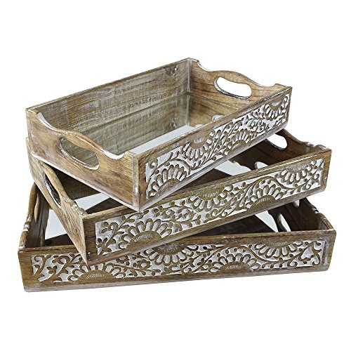 - Indian Heritage Wooden Tray Carved Design in White Distress Finish (Set of 3) Large, Medium, Small