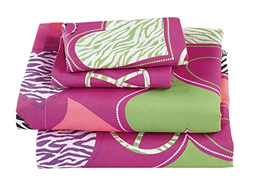 (Fancy Collection 4pc Full Size Girls/Teens Sheet Set Hot Pink Purple Light Green White Black Zebra Print Peace Signs Hearts New # Zebra Heart)