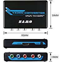 Component to HDMI,ZAMO 5RCA Component RGB YPbPr to HDMI Converter v1.3 HDCP Video Audio Converter Adapter for DVD, PSP, Xbox 360 to new HDTV or Monitor