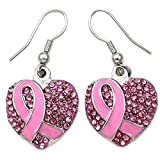 Breast Cancer Awareness Month Accessories Pink Ribbon Heart Earrings