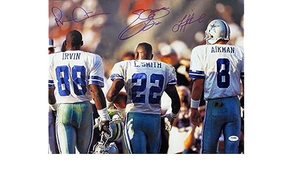 eba7a6ebc76 Emmitt Smith, Troy Aikman & Michael Irvin Signed 16X20 Cowboys Photo PSA/DNA  at Amazon's Sports Collectibles Store