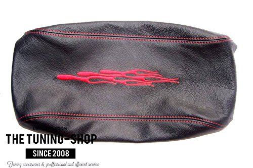 FOR PONTIAC GTO 2004-2006 BLACK LEATHER ARMREST COVER WITH RED FLAMES EMBROIDERY The Tuning-Shop Ltd