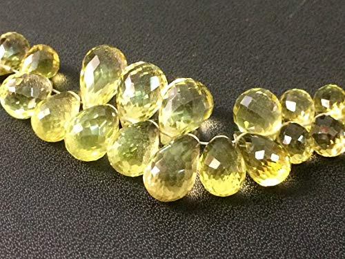 GemAbyss Beads Gemstone 1 Strand Natural Lemon Quartz Teardrop Beads, Faceted Lemon Quartz Drop Briolettes, 5x7mm - 7x15mm, 7 Inch Code-MVG-17458 - Drop Lemon Quartz