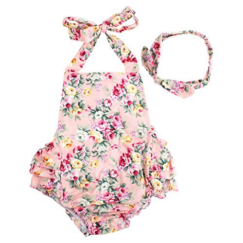 Baby Girls 2pcs Sets Cotton Ruffles Romper Outfits Clothes Pink Roses Flower 6 Months]()