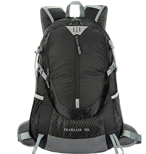 mochilas montaña bolso que sube al aire libre los hombres y las mujeres viajan al aire libre 35L paquete de cargas mochila de senderismo impermeables paquete de acampada Mochilas de marcha ( Color : N Negro