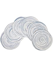 famibay Round Placemats 15 inches,Set of 6 Braided Place Mats for Round Dining Table Heat Insulation Cotton Table Mats for Kitchen