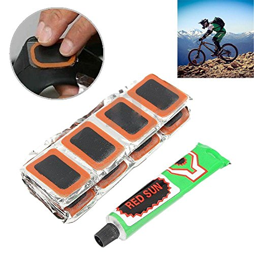 Amapower 48Pcs Durable Cycling Bicycle Accessories Bike Repair Tool Rubber Puncture Patch Kit Tire Tyre Piece Glue Tube