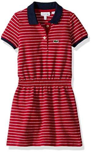 Lacoste Big Girl Short Sleeve Striped Pique Dress, Lacquer/White/Navy Blue ()