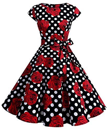 Womens 1950s Vintage Cap Sleeve Polka Dot Rockabilly Swing Dresses C70 (blk Rose dot, M)