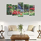 sentufuzhuang Canvas Printing Children's room custom mural Natural landscape garden flowers canvas print bedroom or living room features oil painting 5 pieces, ready for framing (No Frame).