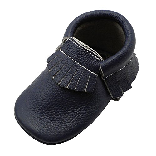 YIHAKIDS Baby Tassel Shoes Soft Leather Sole Infant Shoes Baby Moccasins Crib Shoes Navy Blue(size 6.5,12-18 months/5.3in)
