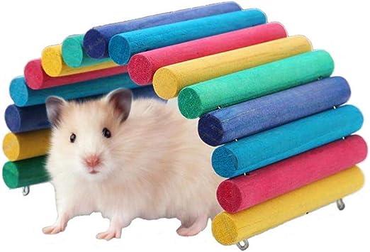Duokon Hamster Puente de Madera Arco Iris Escalera de suspensión para Mascotas pequeñas Suministros Jaula hábitat decoración ratón Ratas roedores Juguete: Amazon.es: Productos para mascotas