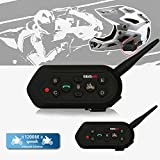 Solarphy Waterproof Motorbike Helmet Intercom 1200M 12 Hours Talk Time Bluetooth Motorcycle Interphone Headset Wireless 6 Riders Walkie Talkie Intercom Communicator Helmet Speakers Headphone (2 Pack)