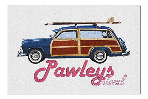 Woody Surfboard - Pawleys Island - Retro Woody and Surfboard - Contour 98857 (20x30 Premium 1000 Piece Jigsaw Puzzle, Made in USA!)