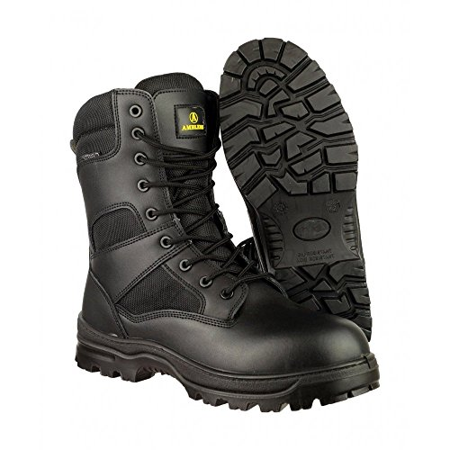 Amblers Safety Mens Combat WP Leather Waterproof Safety Boots Black negro