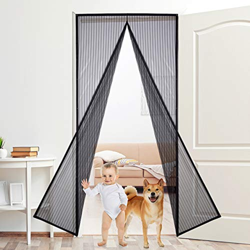 Magnetic Screen Door with Heavy Duty Mesh Curtain and Full Frame Seal Fits Door Size up to 36''-82'' | Keeping Flies Out and Let Fresh Air in by Aoski