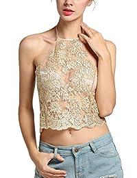 Cocobla Womens Sexy See-through Halter Neck Tank Crop Top Sleeveless Vest Blouse