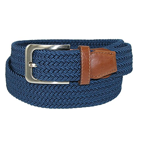 CTM Mens Elastic Braided Stretch Belt with Silver Buckle and Tan Tabs, XL, Navy