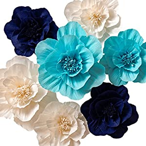 KEY SPRING Paper Flower Decorations, Crepe Paper Flowers, Giant Paper Flowers (Navy Blue, Light Blue, White, Set of 7), Large Paper Flowers for Wedding Backdrop, Nursery Wall Decorations, Baby Shower 56