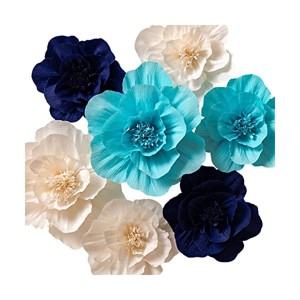 KEY SPRING Paper Flower Decorations, Crepe Paper Flowers, Giant Paper Flowers (Navy Blue, Light Blue, White, Set of 7), Large Paper Flowers for Wedding Backdrop, Nursery Wall Decorations, Baby Shower