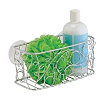 InterDesign Twigz Suction Bathroom Shower Caddy Basket for Shampoo, Conditioner, Soap - Silver