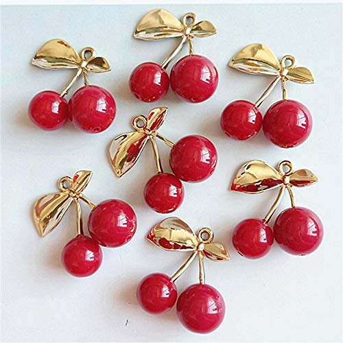 Maslin 10pcs/lot Alloy Creative Gold Leaf Red Cherry Pendant Buttons Ornaments Jewelry Earrings Choker Hair DIY Jewelry Accessories