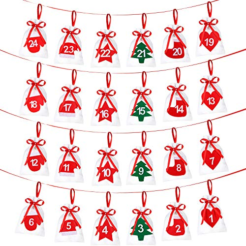 Gejoy 24 Pieces Christmas Felt Countdown Calendar Garland 24 Day Advent Calendar Gift Bags with Christmas Elements for Christmas Decorations -