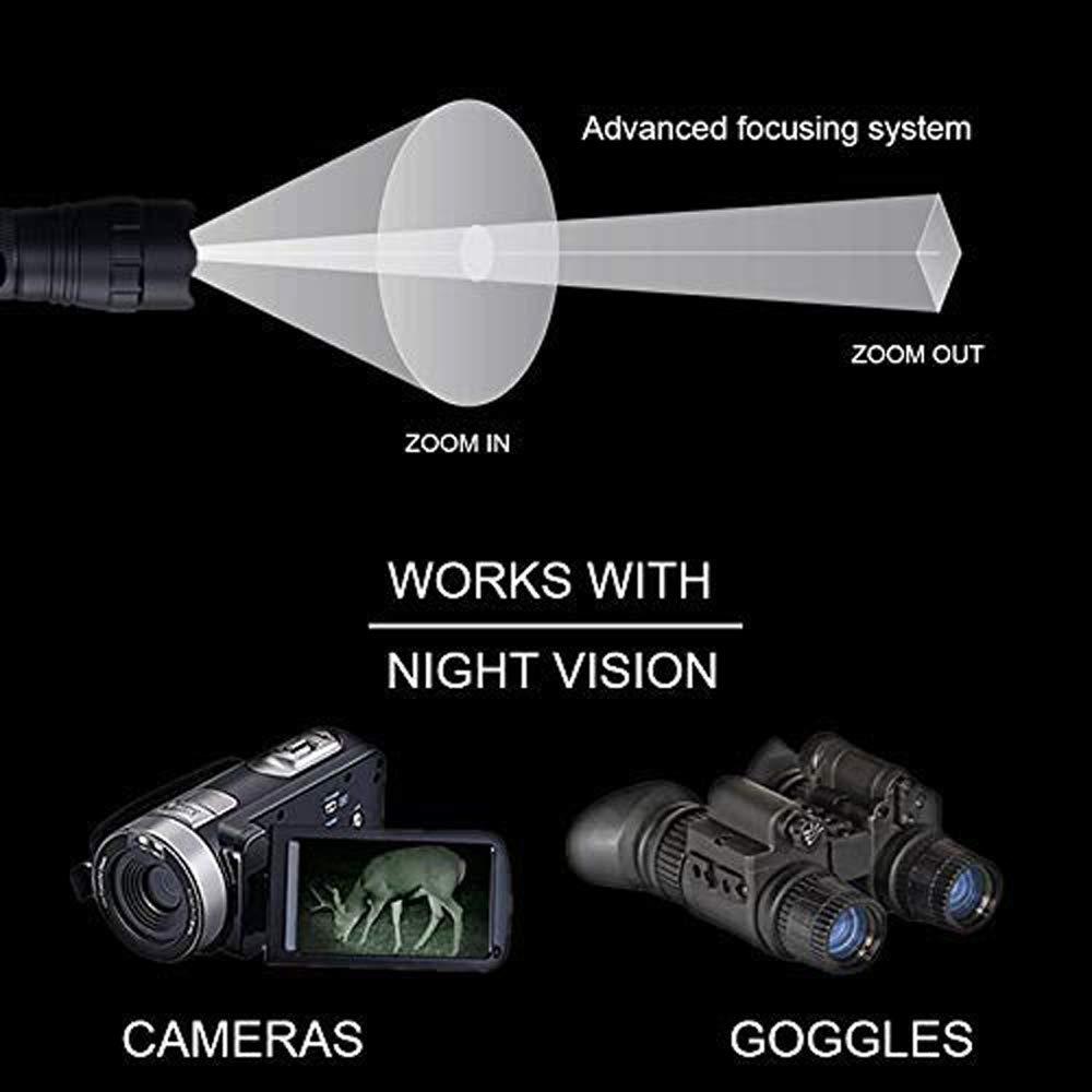 Lumi/ère Infrarouge Night Vision Lampe Torche /À utiliser avec vision nocturne et appareil de chasse Lumi/ère Infrarouge Est Invisible Aux Yeux Humains IR Torche 940nm