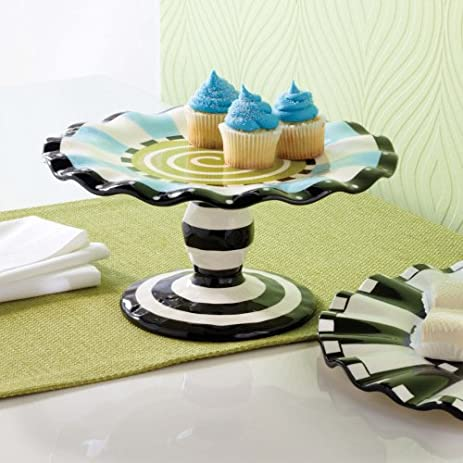 mud pie black u0026 white hand painted ceramic cake stand with ruffled edge