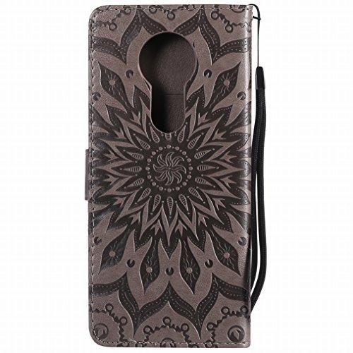 LEMORRY Handyhülle Motorola Moto E5 Plus Hülle Ledertasche Beutel Haut Magnetisch Bumper Stehen SchutzHülle Kartenfächer Weich Gummi Silikon Flip Cover Schale für Moto E5 Plus/E Plus, Blühen (Lila) Grau