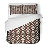 SanChic Duvet Cover Set Vintage Abstract Floral Lattice in The Moroccan Style Stylish Arabian Blue Brown Colors Decorative Bedding Set Pillow Sham Twin Size