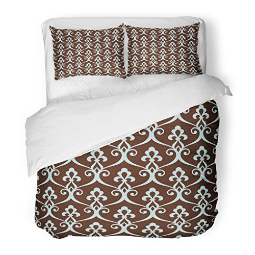 SanChic Duvet Cover Set Vintage Abstract Floral Lattice in The Moroccan Style Stylish Arabian Blue Brown Colors Decorative Bedding Set Pillow Sham Twin Size by SanChic