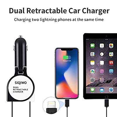 SIQIWO Car Charger, 5V 3A USB Quick Charge Adapter, with 2.6FT Dual Phone Retractable Charging Cable, Compatible with Phone 11 / 11Pro / XR/XS Max/X / 8P / 7P /8S / 7S / 6S / 8/7/Pad Pro and More: Home Audio & Theater