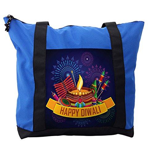 Lunarable Diwali Shoulder Bag, Ethnic Festival Arrangement, Durable with Zipper by Lunarable