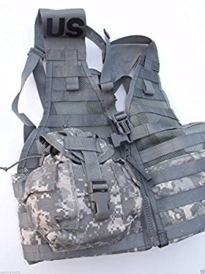 NEW US Army Military Tactical ACU Grey Digital Camo Camouflage MOLLE 2 II FIGHTING LOAD CARRIER Vest FLC LBV + 2 CANTEENS (OD Green Olive Drab 1 Quart QT) + 2 COVERS by US Goverment GI USGI