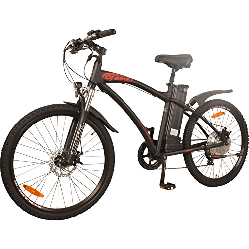 DJ Bikes Mountain 500W 7-Speed Electric Bicycle, 48V 13Ah Lithium-Ion Battery, Matte Black, LED Bike Light, EBike For Adults-Men, Full Suspension And Shimano Gear by DJ Bikes