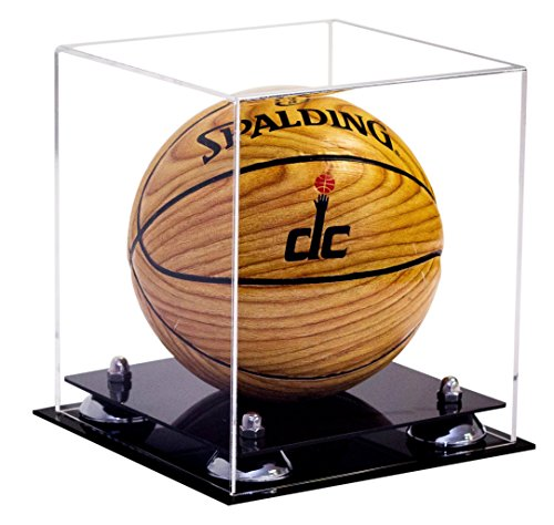 (Deluxe Clear Acrylic MINI - Miniature (not full size) Basketball Display Case with Silver Risers (A015-SR))