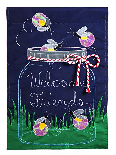 Evergreen Firefly Welcome Applique Garden Flag, 12.5 x 18 -