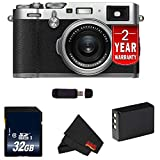 Fujifilm X100F 24.3 MP APS-C Digital Camera (International Version) (Silver 32GB Bundle) For Sale