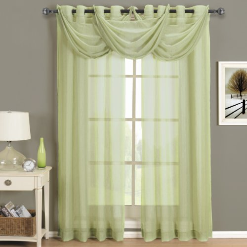 Royal Spring Water - Abri Spring-Green Waterfall Grommet Crushed Sheer Valance , 24x24 inches, by Royal Hotel