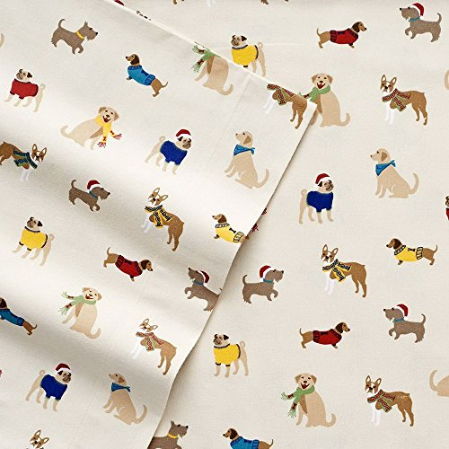 Cuddl Duds Heavyweight Twin Size Sheet Set (Dogs) - 3 pc set (Fitted, Flat, Standard Pillowcase) - Super Soft Flannel Sheet Set w/Deep Pockets. Many Sizes/Colors Available.