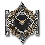 art deco style The Metal Foundry 'Empire' Art Deco Style Décor Metal Wall Clock. Cast English Brass and Aluminum Hand Polished in England. Retro Vintage Designer Hanging Silent Silver and Gold (Empire Design)