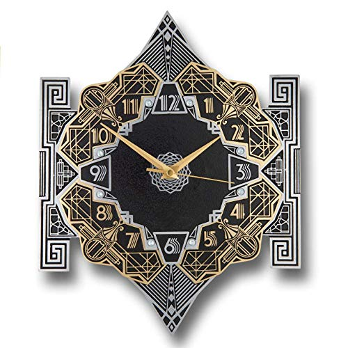 The Metal Foundry 'Empire' Art Deco Style Décor Metal Wall Clock. Cast English Brass and Aluminum Hand Polished in England. Retro Vintage Designer Hanging Silent Silver and Gold (Empire Design) Art Deco Office Furniture