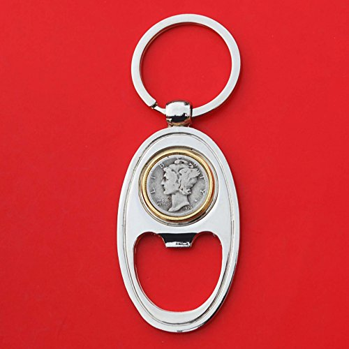 US 1928 Mercury Dime 90% Silver 10 Cent Coin Gold Silver Two Tone Key Chain Ring Bottle Opener NEW