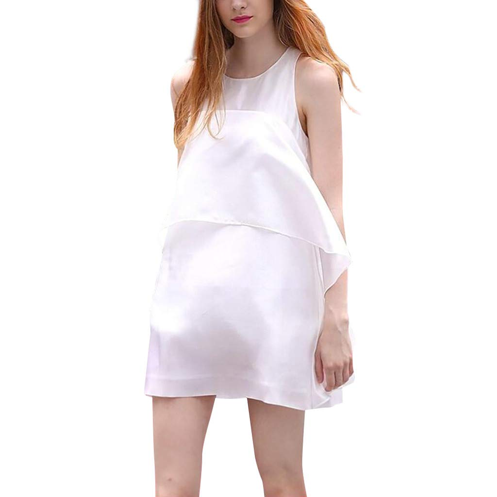 Huifa 2019 Ladies Maternity Casual Dress Sleeveless Solid Color Pregnant Sundress (White,XXL)