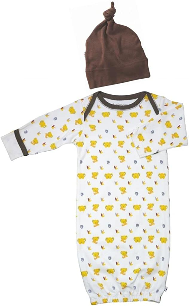 Babysoy Organic Newborn Layette Gown /& Hat Outfit Gift Set-Multi Prints