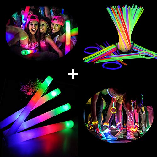 Lifbeier Glow Foam Sticks with Bumpy Rings