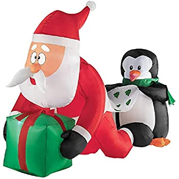 Christmas Inflatable 4' Whimsical Santa And Penguin Scene By Gemmy