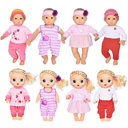 ebuddy 4-Sets Doll Clothes Include Jumpsuit, Dress, Hat, Headband, Top, Pants for 15 inch Dolls Like Alive Baby Doll